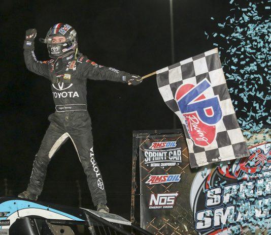 Logan Seavey celebrates his first USAC sprint car victory at Kokomo Speedway. (Dick Ayers photo)