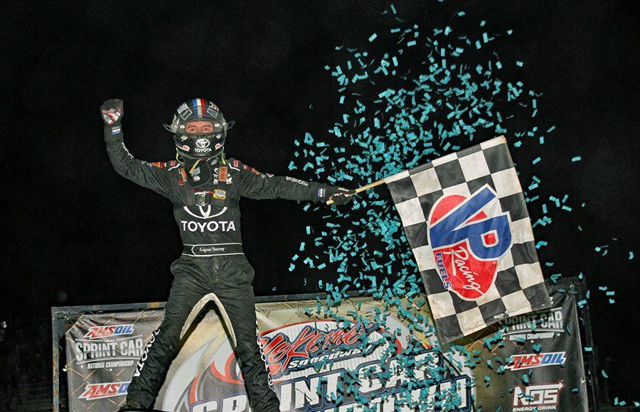 Logan Seavey celebrates after winning Friday's USAC AMSOIL National Sprint Car Series feature at Kokomo Speedway. (Jim Denhamer Photo)