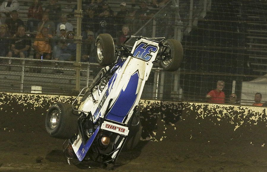 Sterling Cling flips his sprint car during during Friday's USAC AMSOIL National Sprint Car Series feature at Kokomo Speedway. (Dick Ayers Photo)