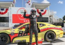 Rafa Matos celebrates his victory Saturday at Road America.