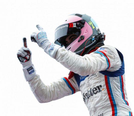 Max Root celebrates after winning Saturday's Porsche GT3 Cup Challenge USA by Yokohama event at Virginia Int'l Raceway. (IMSA Photo)