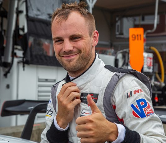 Laurens Vanthoor claimed the pole for Sunday's Michelin GT Challenge at Virginia Int'l Raceway. (Sarah Weeks Photo)
