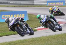 Garrett Gerloff (31) on his way to victory in Saturday's MotoAmerica Superbike event at Pittsburgh Int'l Race Complex. (Brian J. Nelson Photo)