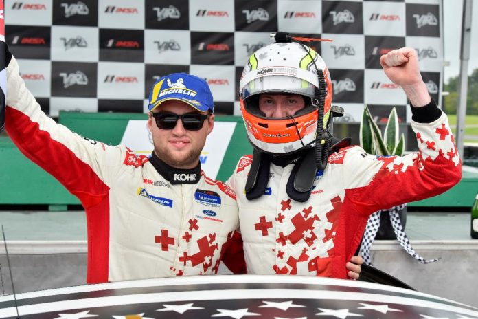 Kyle Marcelli and Nate Stacy were declared the winners of Saturday's IMSA Michelin Pilot Challenge race at Virginia Int'l Raceway.