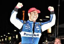 Takuma Sato celebrates after winning Saturday's Bommarito Automotive Group 500. (Al Steinberg Photo)