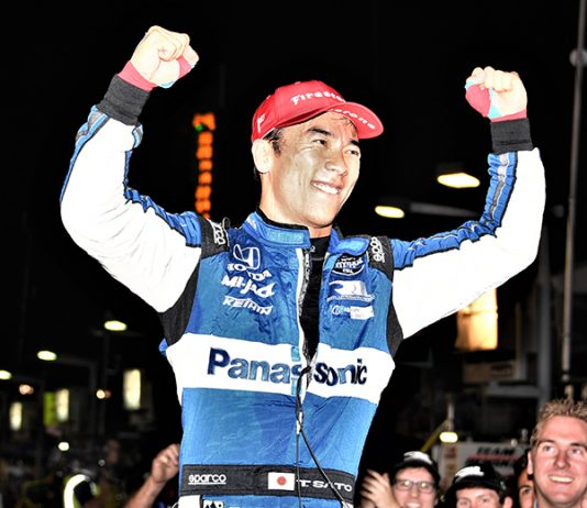 Takuma Sato celebrates after winning Saturday's Bommarito Automotive Group 500. (Al Steinberg Photo)