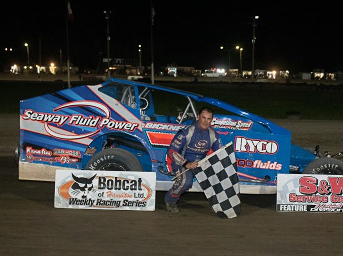 Mike Bowman in victory lane Saturday at Merrittville Speedway. (Nitroman Media Photo)