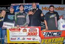 Jake O'Neil banked $3,000 for winning Saturday's USMTS feature at Nobles County Speedway.