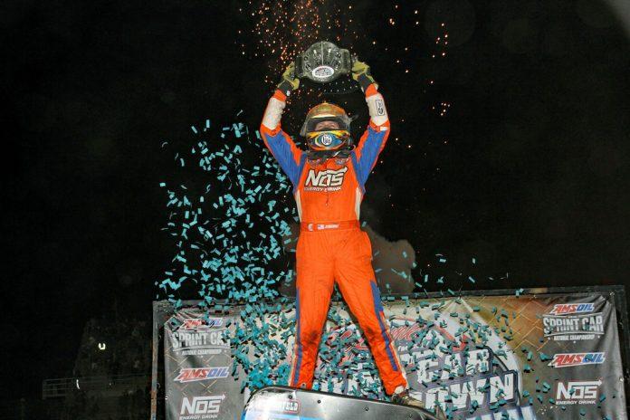 Tyler Courtney won Saturday's Smackdown at Kokomo (Ind.) Speedway. (Jim DenHamer photo)