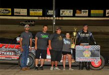 Robert Elliott won the Sport Modified Mayhem event Saturday at Dodge City Raceway park.