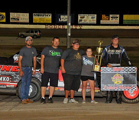 Robert Elliott won the Sport Modified Mayhem event Saturday at Dodge City Raceway park.