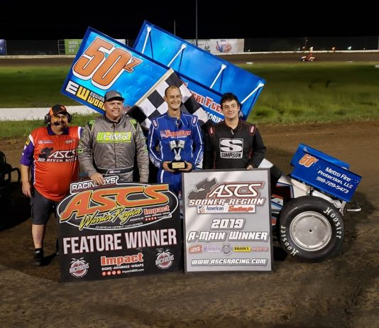 Zach Chappell in victory lane. (ASCS photo)