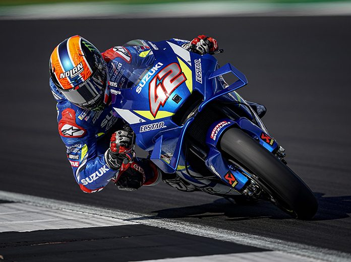 Alex Rins bested Marc Marquez in a thrilling finish Sunday at the Silverstone Circuit. (Suzuki Photo)