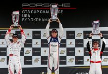 Max Root (center) swept both Porsche GT3 Cup Challenge USA by Yokohama races at Virginia Int'l Raceway.