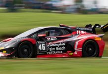 Shinya Michimi and Brandon Gdovic drove to victory in Sunday's Lamborghini Super Trofeo North America event at Virginia Int'l Raceway.