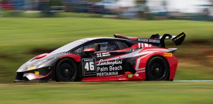 Shinya Michimi and Brandon Gdovic drove to victory in Sunday's Lamborghini Super Trofeo North America event at Virginia Int'l Raceway.