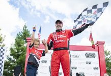 Kevin Lacroix celebrates his victory Sunday at Canadian Tire Motorsport Park. (NASCAR Photo)