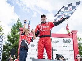 Kevin Lacroix celebrates his victory Sunday at Canadian Tire Motorsport Park. (NASCAR Photo)