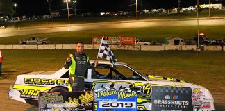 Brett Hudson in victory lane Saturday at Shady Bowl Speedway. (Todd Ridgeway Photo)