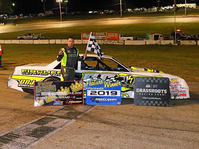 Brett Hudson in victory lane Saturday at Shady Bowl Speedway. (Todd Ridgeway Photo)