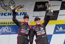 Jeroen Bleekemolen and Ben Keating celebrate after their victory Sunday at Virginia Int'l Raceway. (Sarah Weeks Photo)