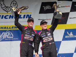 Jeroen Bleekemolen and Ben Keating celebrate after their victory Sunday at Virginia Int'l Raceway. (Sarah Weeks Photo)
