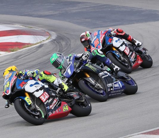 Toni Elias (24), Cameron Beaubier (1) and Josh Herrin battle for position during Sunday's MotoAmerica Superbike event at Pittsburgh Int'l Race Complex. (Brian J. Nelson Photo)