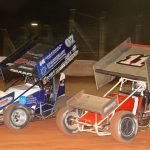 Gerard McIntyre (07) battles Dale Blaney at BAPS Motor Speedway. (Dan Demarco photo)