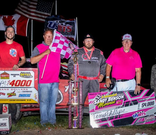 Terry Phillips in victory lane at Casino Speedway. (USMTS photo)