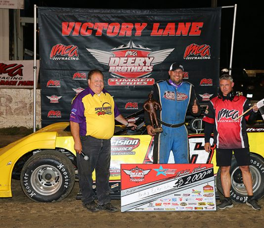 Andy Eckrich in victory lane after winning Sunday's Deery Brothers Summer Series feature at West Liberty Raceway. (Mike Ruefer Photo)