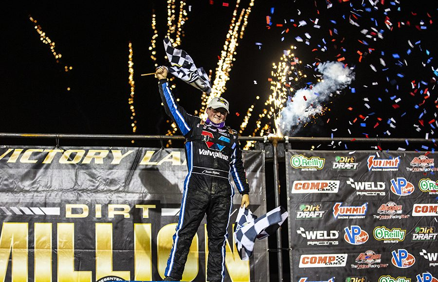 Brandon Sheppard celebrates after winning the second running of the Dirt Million Saturday at Mansfield Motor Speedway. (Trent Gower Photo)