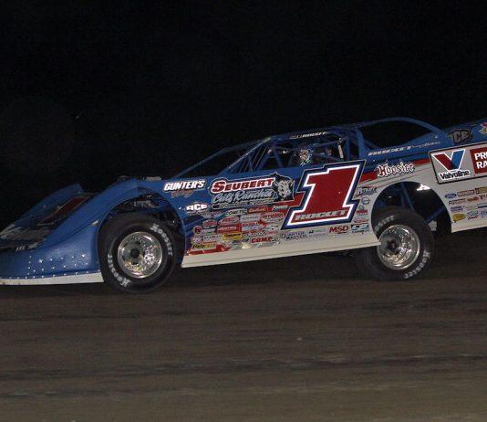 Brandon Sheppard en route to victory at I-96 Speedway. (Jim DenHamer photo)