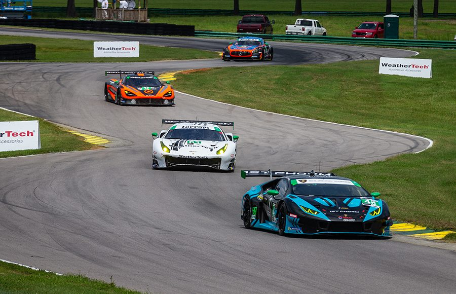 The No. 48 Lamborghini Huracan GT3 leads a pack of cars during Sunday's Michelin GT Challenge at Virginia Int'l Raceway. (Sarah Weeks Photo)