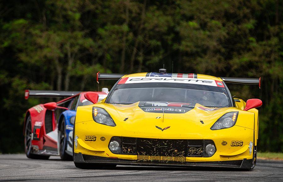 The No. 3 Corvette of Jan Magnussen and Antonio Garcia rolls through a corner during Sunday's Michelin GT Challenge at Virginia Int'l Raceway. (Sarah Weeks Photo)