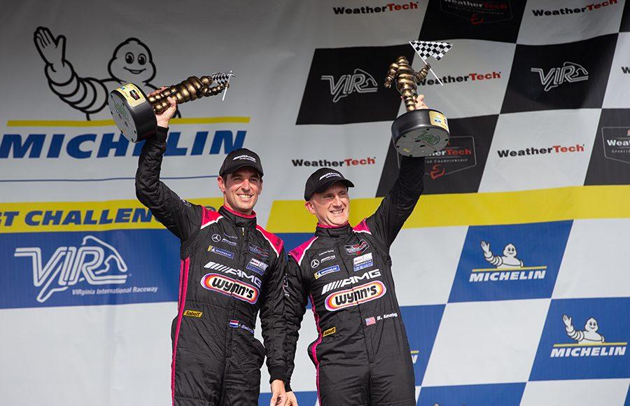 Jeroen Bleekemolen (left) and Ben Keating celebrate after winning the GT Daytona class during Sunday's Michelin GT Challenge at Virginia Int'l Raceway. (Sarah Weeks Photo)
