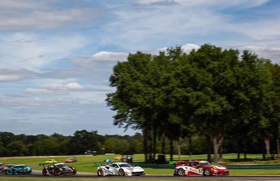 Drivers battle for position at scenic Virginia Int'l Raceway during Sunday's Michelin GT Challenge. (Sarah Weeks Photo)