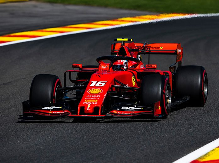 Charles Leclerc was fastest in Formula One practice on Friday afternoon in Belgium. (Ferrari Photo)