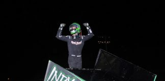 Gio Scelzi won Friday's sprint car feature at Gas City I-69 Speedway. (Randy Crist photo)