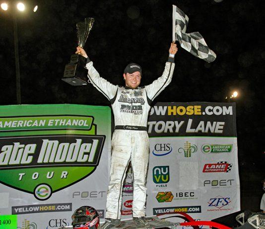 Bobby Pierce celebrates after winning Friday's American Ethanol Late Model Tour event at Farmer City Raceway. (Jim Denhamer Photo)