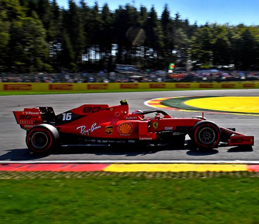 Charles Leclerc roared to his third F-1 pole of the season during the Belgian Grand Prix. (Ferrari Photo)