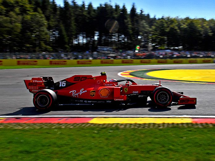 Charles Leclerc roared to his third F-1 pole of the season during the Belgian Grand Prix. (Ferrari Photo)