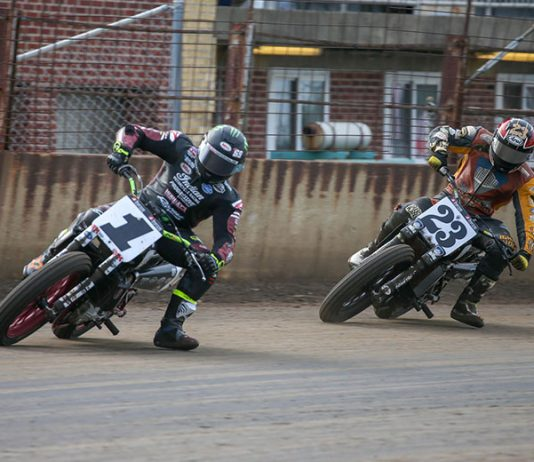 Jared Mees (1) races ahead of Jeffrey Carver Jr. on Saturday at the Springfield Mile. (Scott Hunter/AFT Photo)
