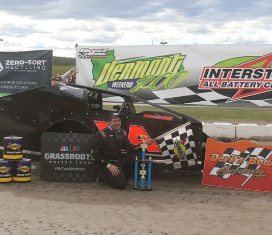 """Tim LaDuc won the Casella Waste Management """"Ron Casey Memorial"""" Sportsman Modified Shootout feature to open the Interstate All Battery Center Vermont 200 Weekend at Devil's Bowl Speedway. (Bill McGaffin Photo)"""