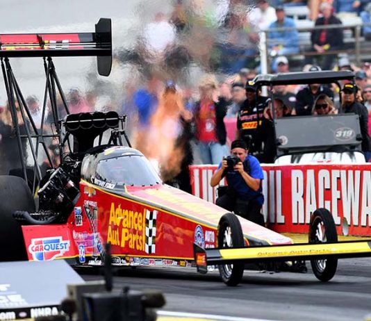 Brittany Force set a track record in qualifying for the Chevrolet Performance U.S. Nationals on Saturday. (Kent Steele Photo)