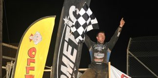Brock Zearfoss celebrates after winning Saturday's Brad Doty Classic at Attica Raceway Park. (Julia Johnson Photo)