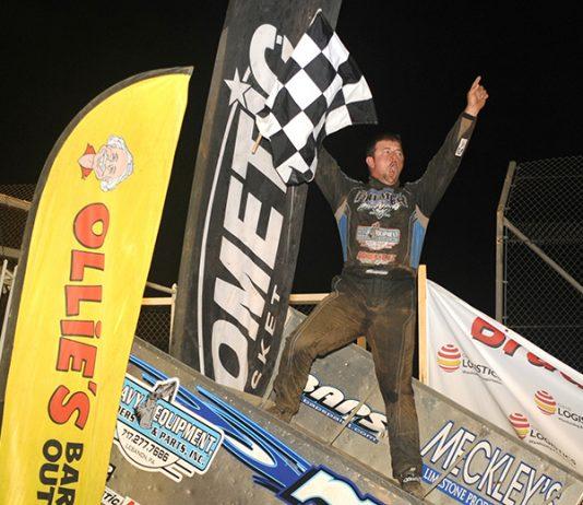 Brock Zearfoss celebrates after winning Saturday's Brad Doty Classic at Attica Raceway Park. (Julia Johnson Photo)