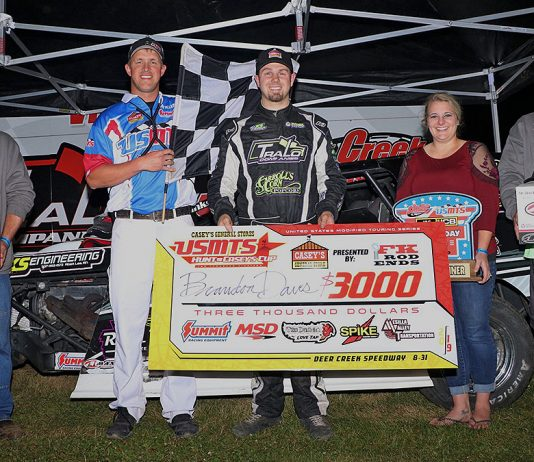 Brandon Davis earned a $3,000 payday Saturday at Deer Creek Speedway.