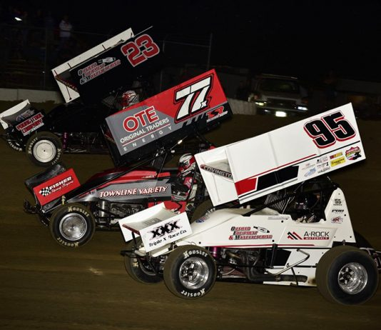 Matt Covington (95), Alex Hill (77x) and Seth Bergman race three-wide during Friday's Lucas Oil American Sprint Car Series feature at 34 Raceway. (Mark Funderburk Photo)