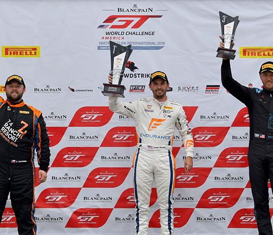 Jarett Andretti (center) earned his first overall Pirelli GT4 America Sprint triumph on Sunday at Watkins Glen Int'l.