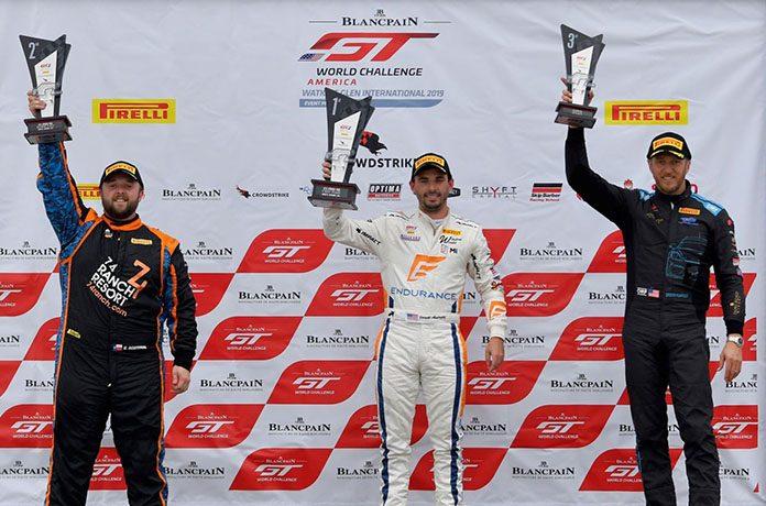 Jarett Andretti (center) earned his first overall Pirelli GT4 America Sprint triumph on Sunday at Watkins Glen Int'l.